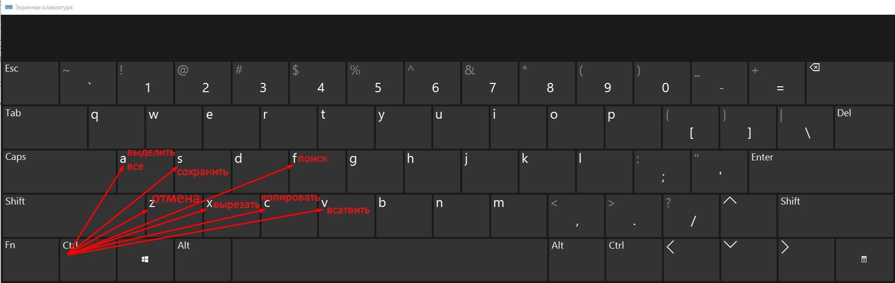 сочетания клавиш в Windows 10